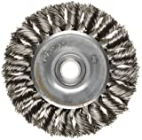 Weiler Dualife Standard Wire Wheel Brush, Round Hole, Stainless Steel 302, Partial Twist Knotted, 3'' Diameter, 0.014'' Wire Diameter, 1/2-3/8'' Arbor, 5/8'' Bristle Length, 3/8'' Brush Face Width, 25000 rpm