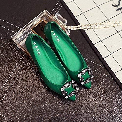 Eeayyygch Gericht Schuhe Flache Schuhe weiblichen flachen Mund flach mit Spitzen einzigen Schuhe Strass Mode Vier Schuhe Freizeitschuhe weiblich 39 grün (Farbe   - Größe   -)