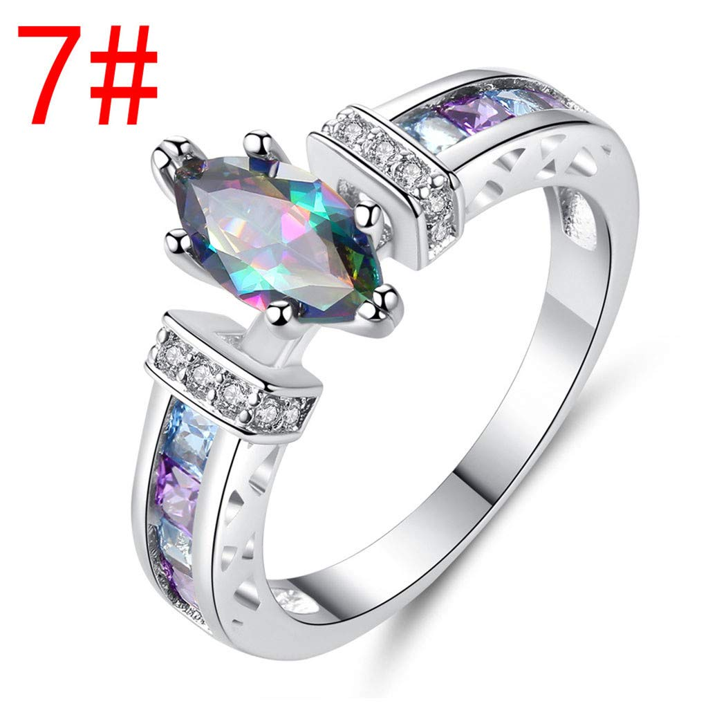 Women Colorful Ring Personality Color Diamond Ring Classical Stainless Steel Solitaire Engagement Ring