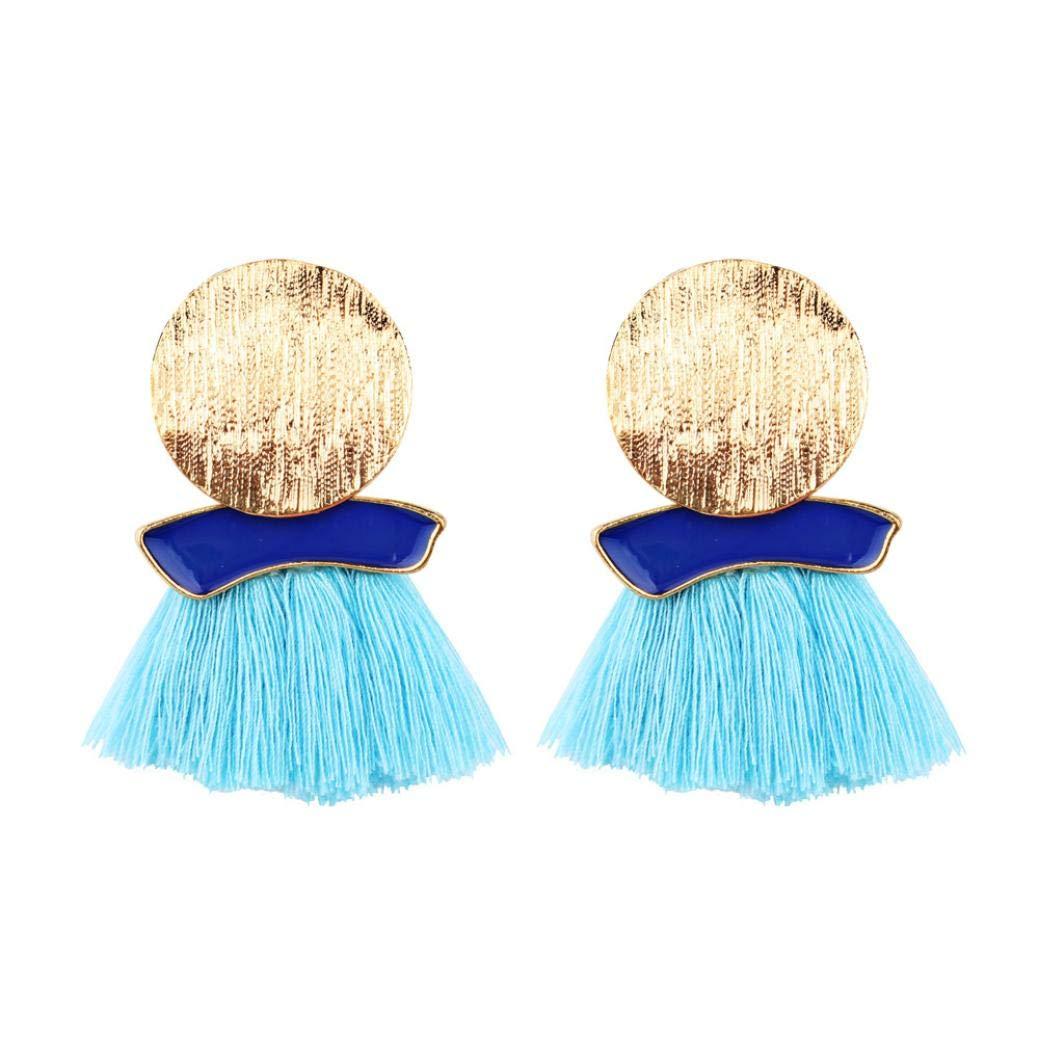 Clearance! yijiamaoyiyouxia A Pair of Fashionable Tassels Big Earrings Geometric Irregular Round Tassels (Sky Blue)
