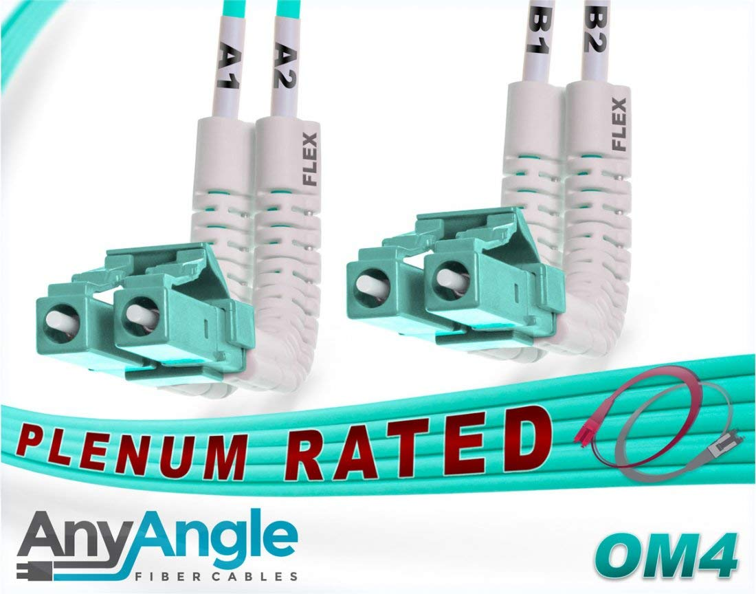FiberCablesDirect - 12M OM4 LC LC Fiber Patch Cable | AnyAngle Duplex 50/125 LC to LC Multimode Jumper 12 Meter (39.37ft) | Length Options: 1M-30M | Plenum 40/100g qsfp+ 100gbase sr ofnp mmf-lc-lc
