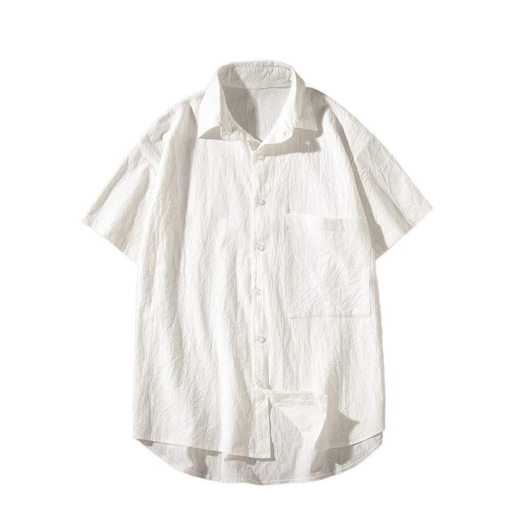 Men Boy Shirts,RNTOP Mens Trend Loose Solid Color Pocket Button Lapel Short Sleeve Shirt Top
