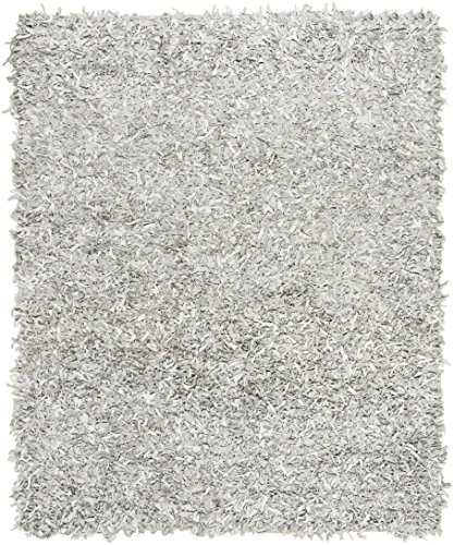 Safavieh Leather Shag Collection LSG601C Hand-Knotted Grey and White Decorative Area Rug (5' Square)
