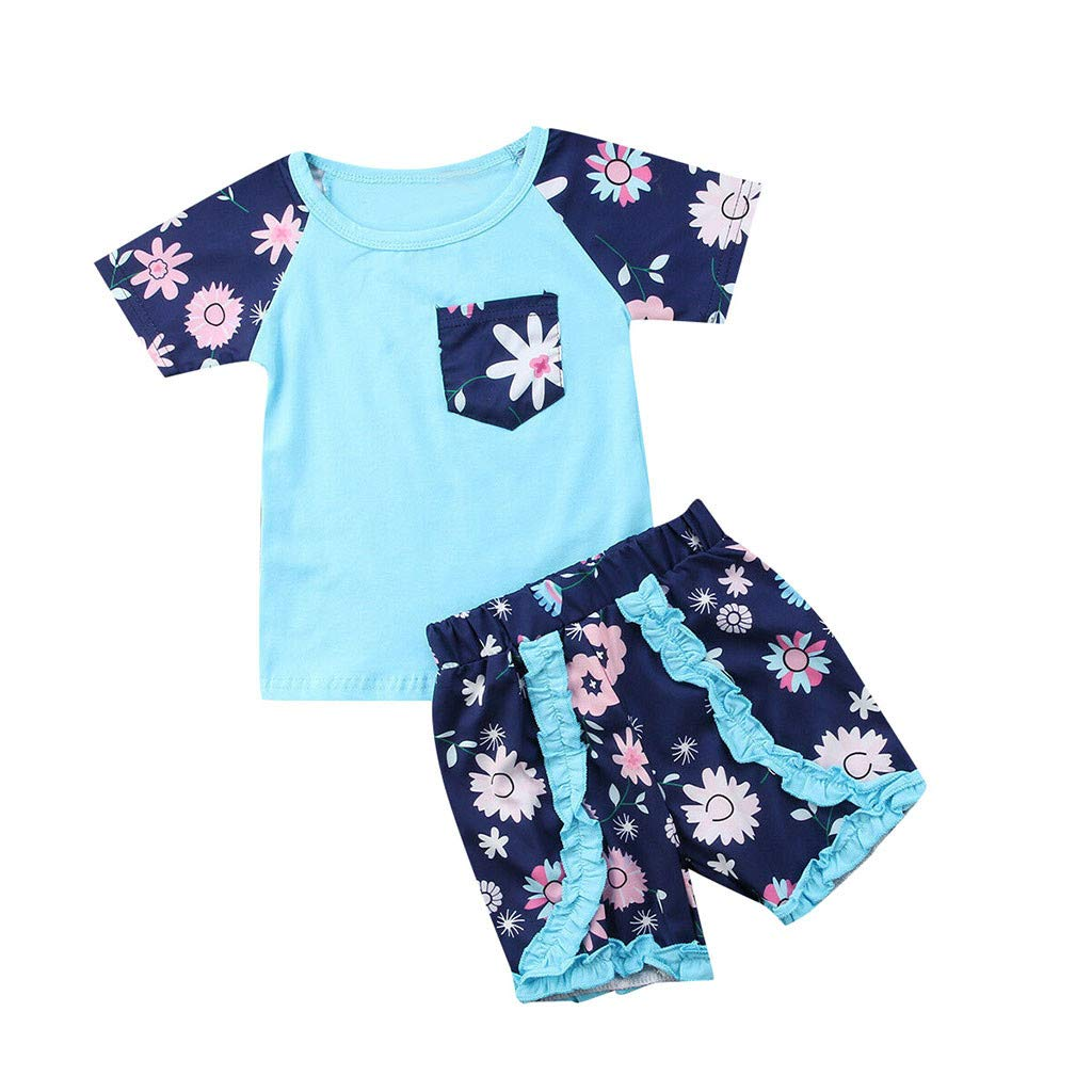 2pcs Baby Girl Outfits Set, Infant Kids Short Sleeve Floral Printed Pocket T- Shirt Tops + Ruffle Shorts (3-4 Years, Blue)