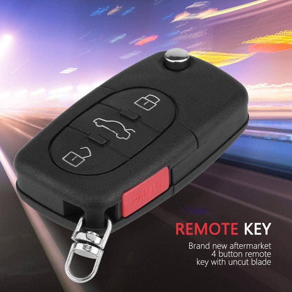 KIMISS 4 Bot/ón Flip Uncut Entry Car Remote Key Fob 315MHz ID48 Chip para A6 S4 TT 4D0837231E