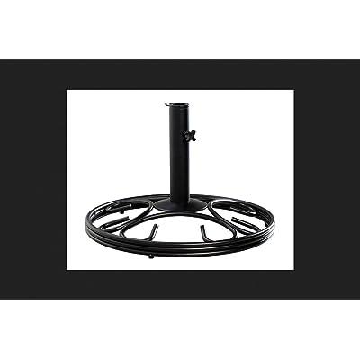 """Living Accents Umbrella Base Wrought Iron Round 19.5"""" X 19.5"""" X 13"""" Iron Black : Patio Umbrella Bases : Garden & Outdoor"""