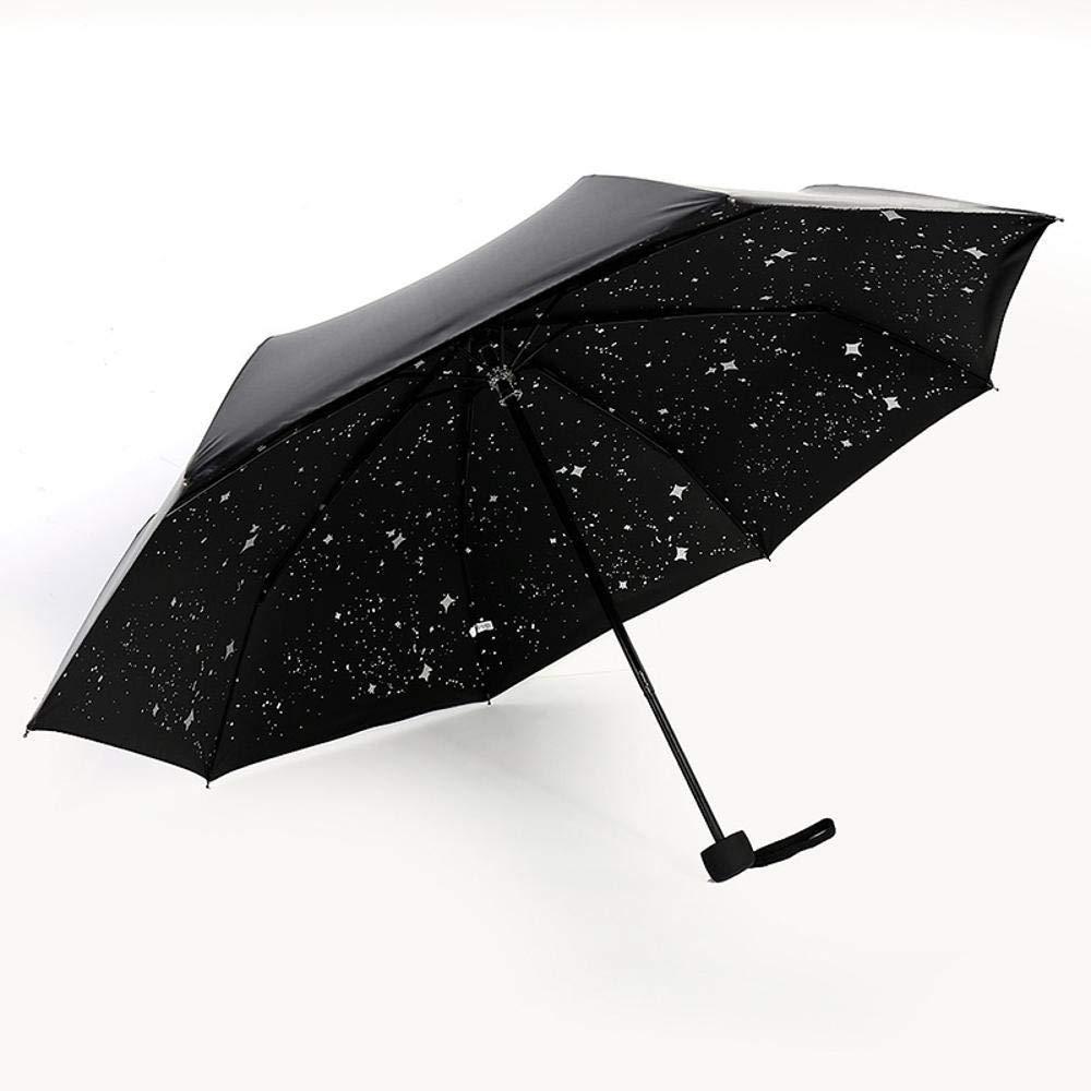 Hongge Paraguas Negro Negro Negro de la Moda plástico Creativo Estrella sombrilla Anti-UV Viento Paraguas de Viaje 8fe77c