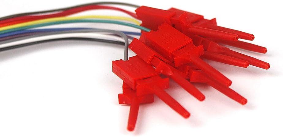 Haljia 10/pcs Dupont Fil USB Analyseur logique Test Hook Clip Grabber Jumper fils et interface pins Id/éal pour Electronic Tester