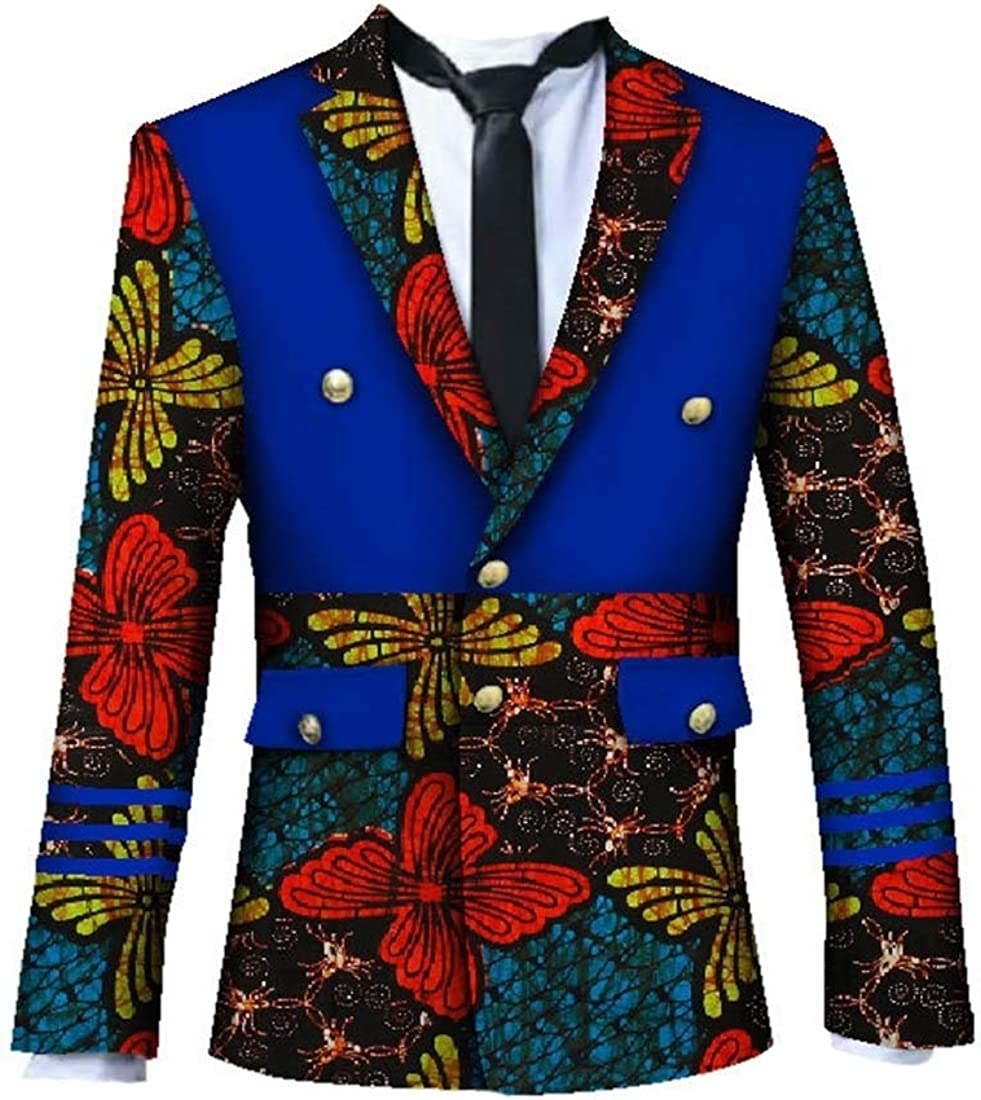 GAGA Mens Vintage Cotton Long Sleeve African Ethnic Style Print Suit Blazers
