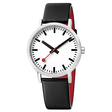 Mondaine Men s SBB Stainless Steel Swiss-Quartz Watch with Leather Strap, Black Model A660.30360.16OM