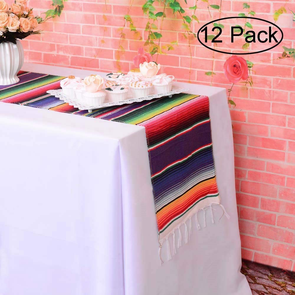 LGHome Mexican Blanket Serape Table Runner Colorful Striped Fringe Cotton Table Runner for Mexican Birthday Party Wedding Holiday Decorations Pack of 12-14x84 by LGHome