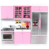 """Velocity Toys Modern Kitchen Battery Operated Toy Kitchen Playset, Perfect for 11.5"""" Tall Dolls"""