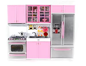 "Modern Kitchen Battery Operated Toy Kitchen Playset, Perfect for 11.5"" Tall Dolls"