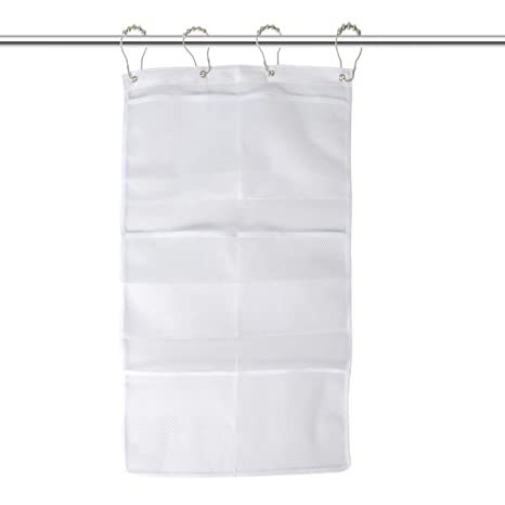MEYUWAL 6 Pockets Mesh Shower Caddy Quick Dry Hanging Organizer For Curtain Rods