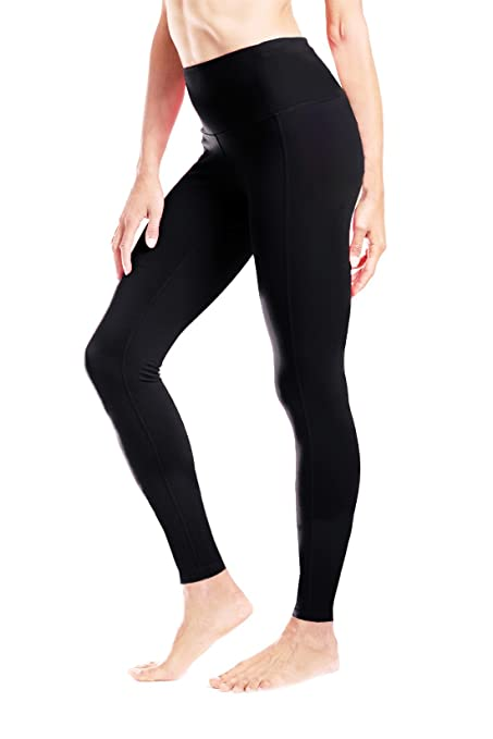 "633b8eb6eaec6 Yogipace Petite Length Women's 23"" Inseam Waisted Yoga Leggings  Workout Gym Active Pants Hidden Pocket"