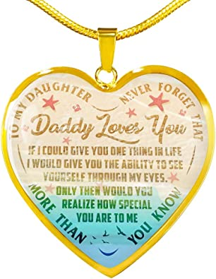 Anniversary to My Daughter Necklaces Pendants Luxury Necklace Silver Or Gold On Birthday Includes Gift Box! Gift from Daddy Father and Daughter Necklace