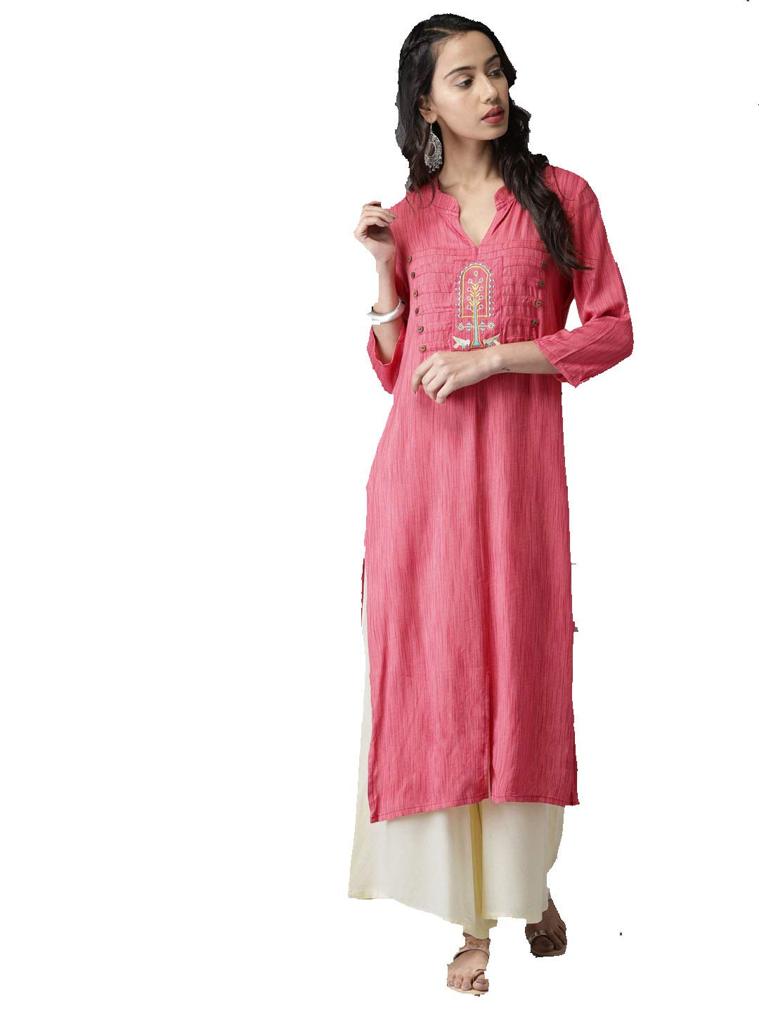 Women Peach-Coloured Embroidered Straight Kurta with Palazzos (XS-32)
