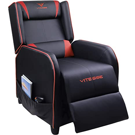 Groovy Vitesse Gaming Recliner Chair Racing Style Single Ergonomic Lounge Sofa Modern Pu Leather Reclining Home Theater Seat For Living Gaming Room Red Creativecarmelina Interior Chair Design Creativecarmelinacom