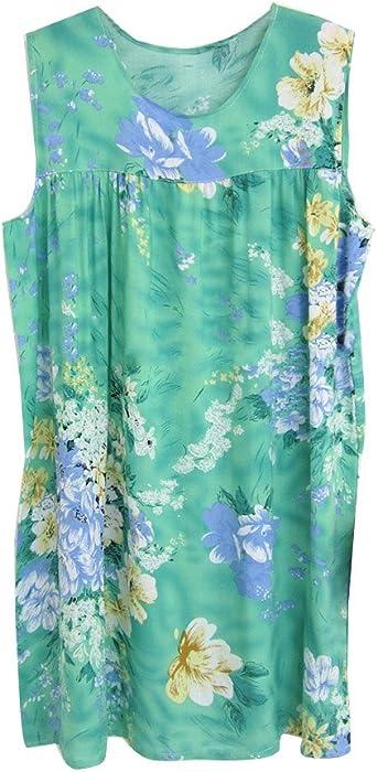 GladiolusA Mujer Camis/ón Sin Manga Floral Camis/ón De Dormir Pijama Vestido Talla Grande Ropa De Dormir