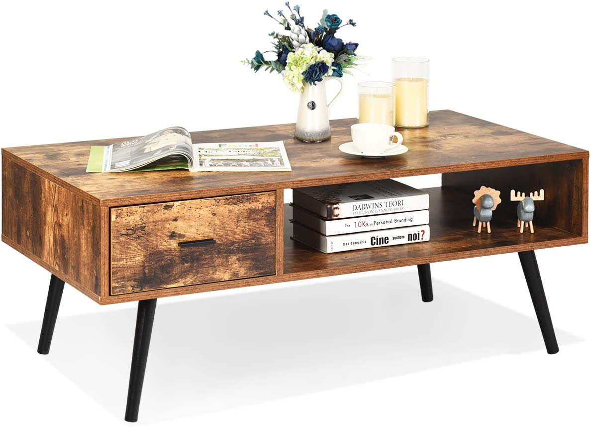 Giantex Coffee Table Mid-Century Modern TV Table W 1 Drawer and Open Storage Shelf for Living Room, Reception, Rustic Accent Sofa Cocktail Table 43 x 21.5 x 17.5 L x W x H Rustic Brown
