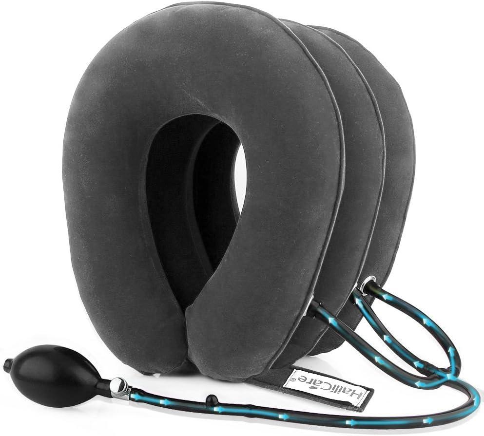Cuello Cervical Tracción, HailiCare Collar Cervical Inflable con 3 Capas de Aire Cómodo para Aliviar el Dolor de Cuello y el Hombro (Gris)