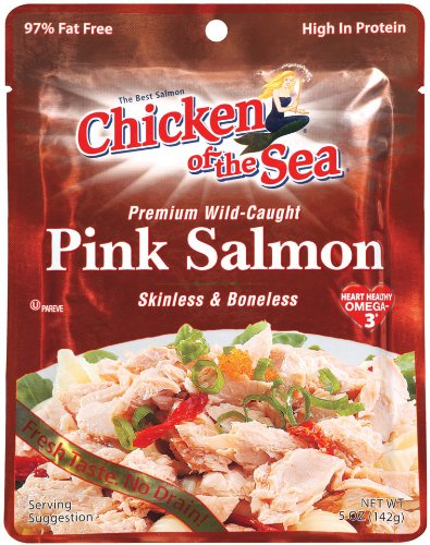 Chicken of the Sea Pink Salmon Skinless & Boneless Pouch, 5 Ounce Pouch (Pack of 12) by Chicken of the Sea