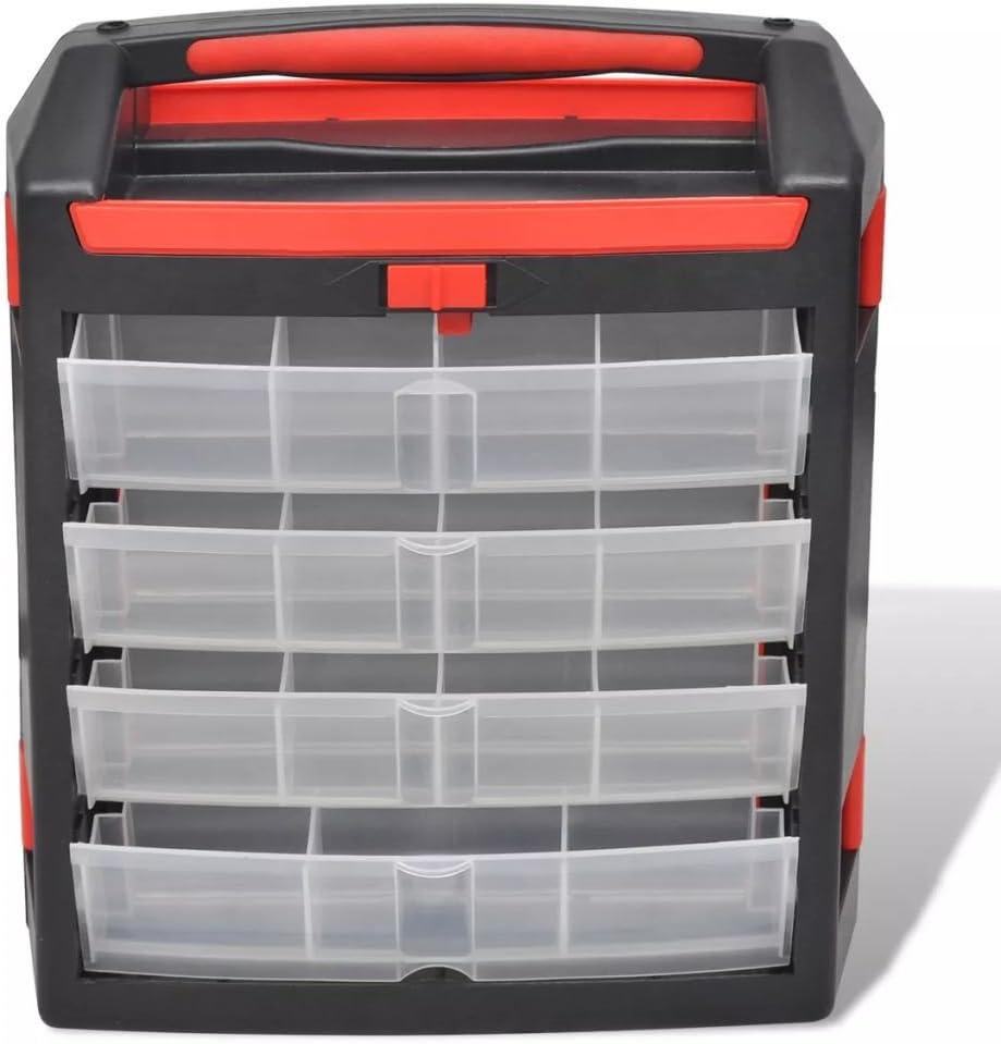 yorten Set de 2 Malettes de Rangement Polypropyl/ène avec Compartiments Transparent pour Outil 30 x 17 x 35 cm