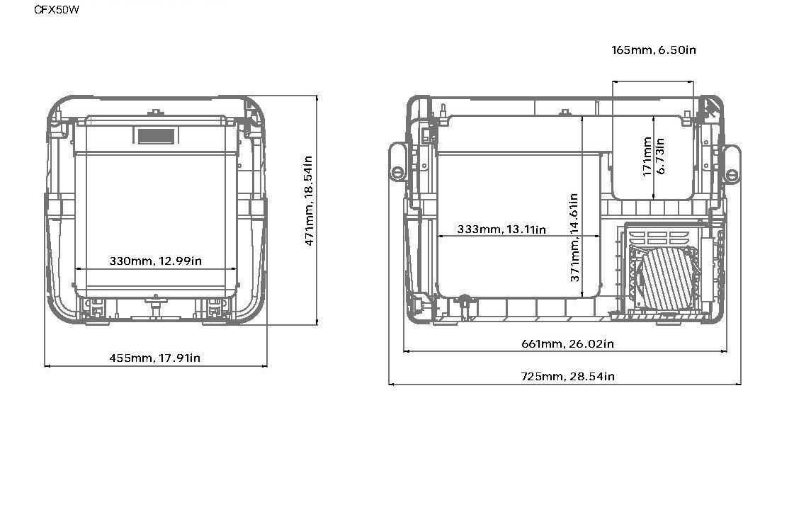 Dometic Cfx 50w 12v Electric Powered Portable Cooler Maneurop Compressor Electrical Drawing Fridge Freezer Automotive