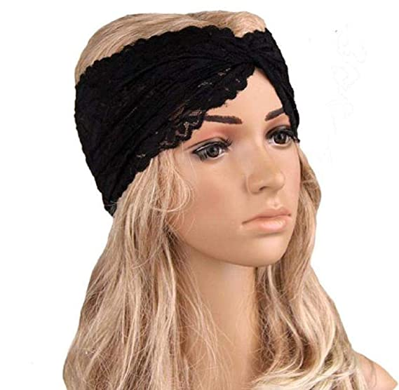 Women Headwear Twist Sport Yoga Lace Headband Turban Headscarf Wrap Black