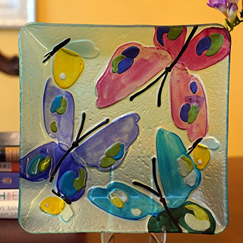 (WELLAND Hand Painted Platter, Butterfly Pattern , 11 Inches, Square)