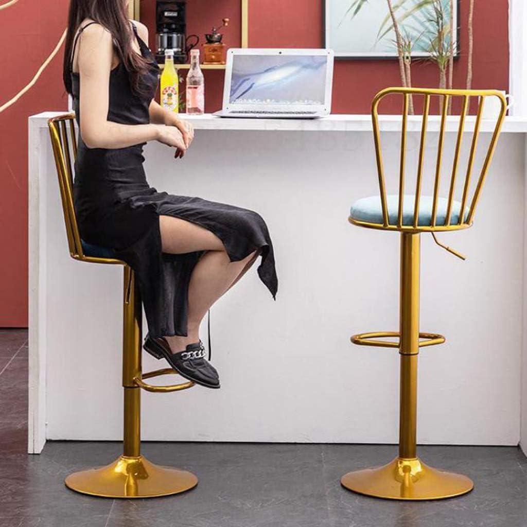 XIALIUXIA Velours Réglable Hauteur Tabouret Bar, Chaise Bar avec Dossier Et Repose-Pied Ergonomique Siège Pivotant,C U