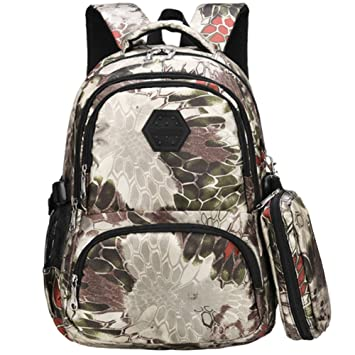 244ed72ed91a Uniuooi Camouflage Secondary School Backpack Book Bag with Pencil Case for  Teenage Girls Boys