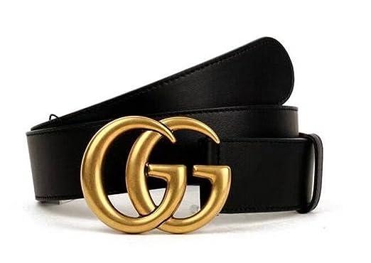 f651acabb2c9 Original authentique boutique de mode double GG or boucle hommes femmes  ceinture (W 1-