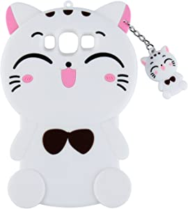 White Cat Case for Samsung Galaxy On 5,Grand Prime Case,J2 Prime Lucky Cover,3D Cute Cartoon Animal Shell,Joyleop Kids Girls Soft Silicone Kawaii Character Fashion Protector Galaxy Prime G530 J5,J510