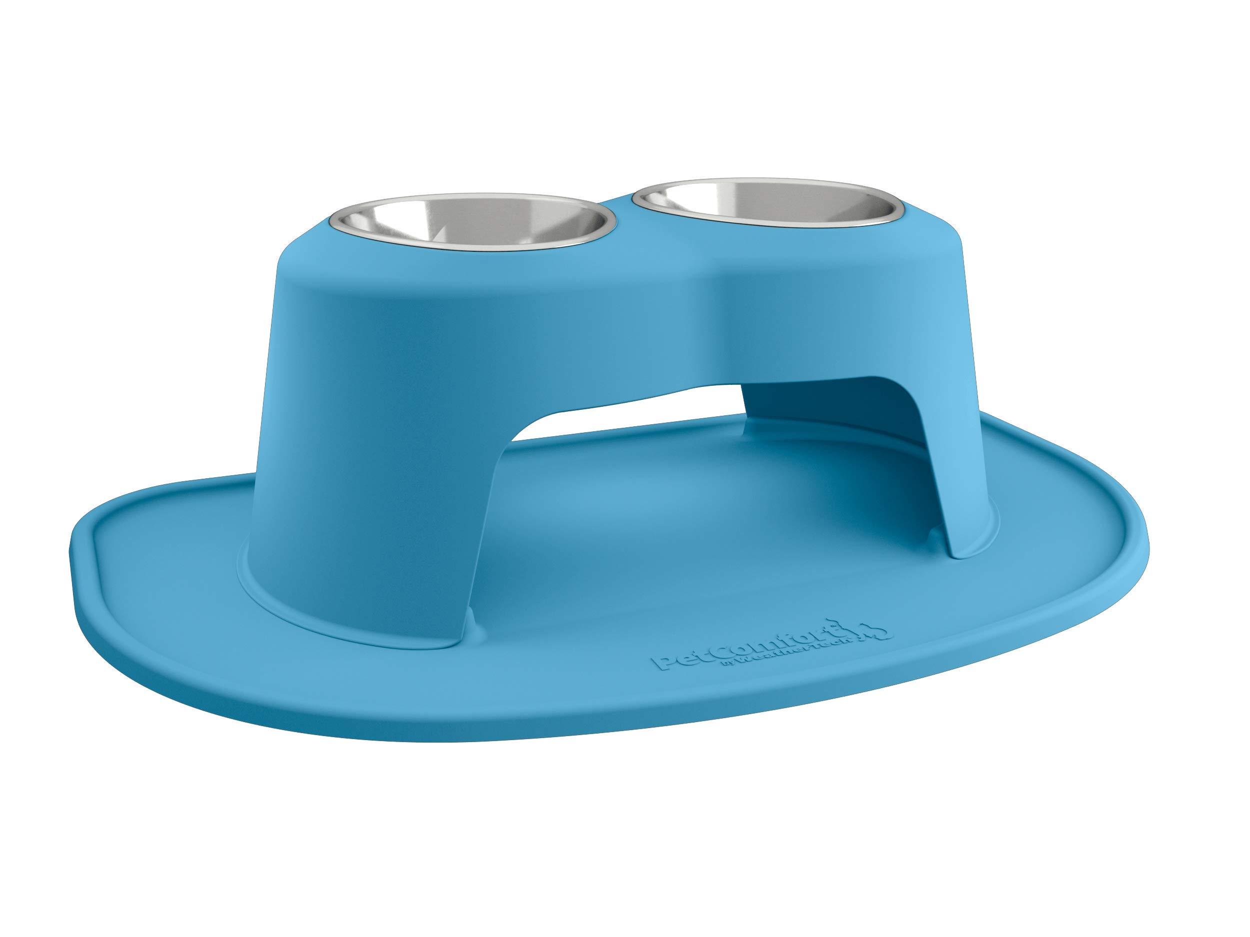 PetComfort Double High Feeding System with XL Mat (10'' Stand, Blue)