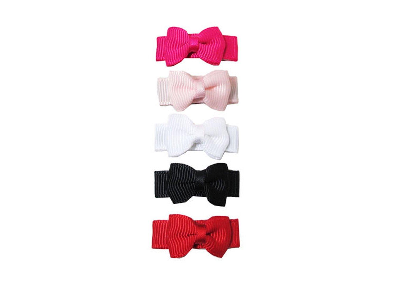 Baby Wisp 5 Tiny Tuxedo Hair Bows Baby Girls Toddlers - Classic Gift Set Baby Wisp Inc. BW1511