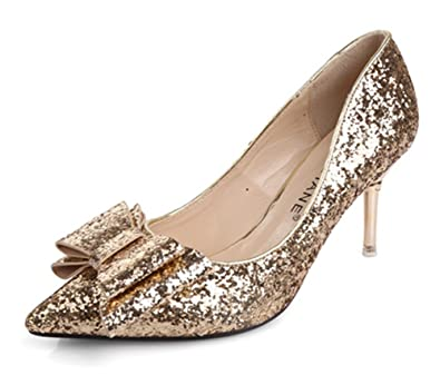 de287a934a4 Easemax Women s Chic Pointed Toe Rose Gold Sequins Mid Kitten Heel Slip On  Low Top Wedding