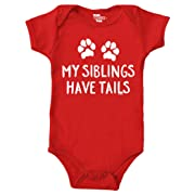 Tcombo My Siblings Have Tails Bodysuit (6M, Red)