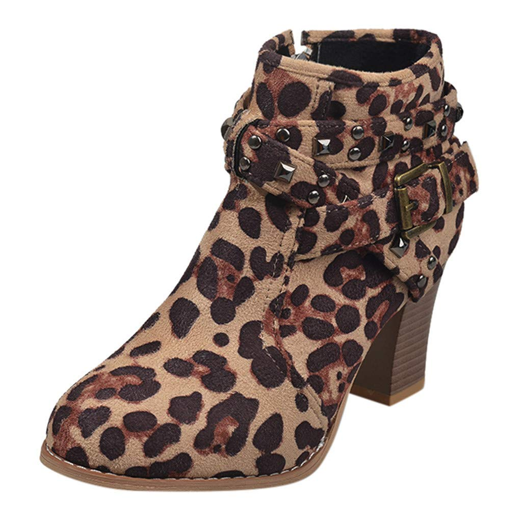 Gibobby Ankle Booties for Women Chunky Heel Women's Buckle Side Cut Out Chunky Stacked Heel Ankle Bootie Khaki by Gibobby