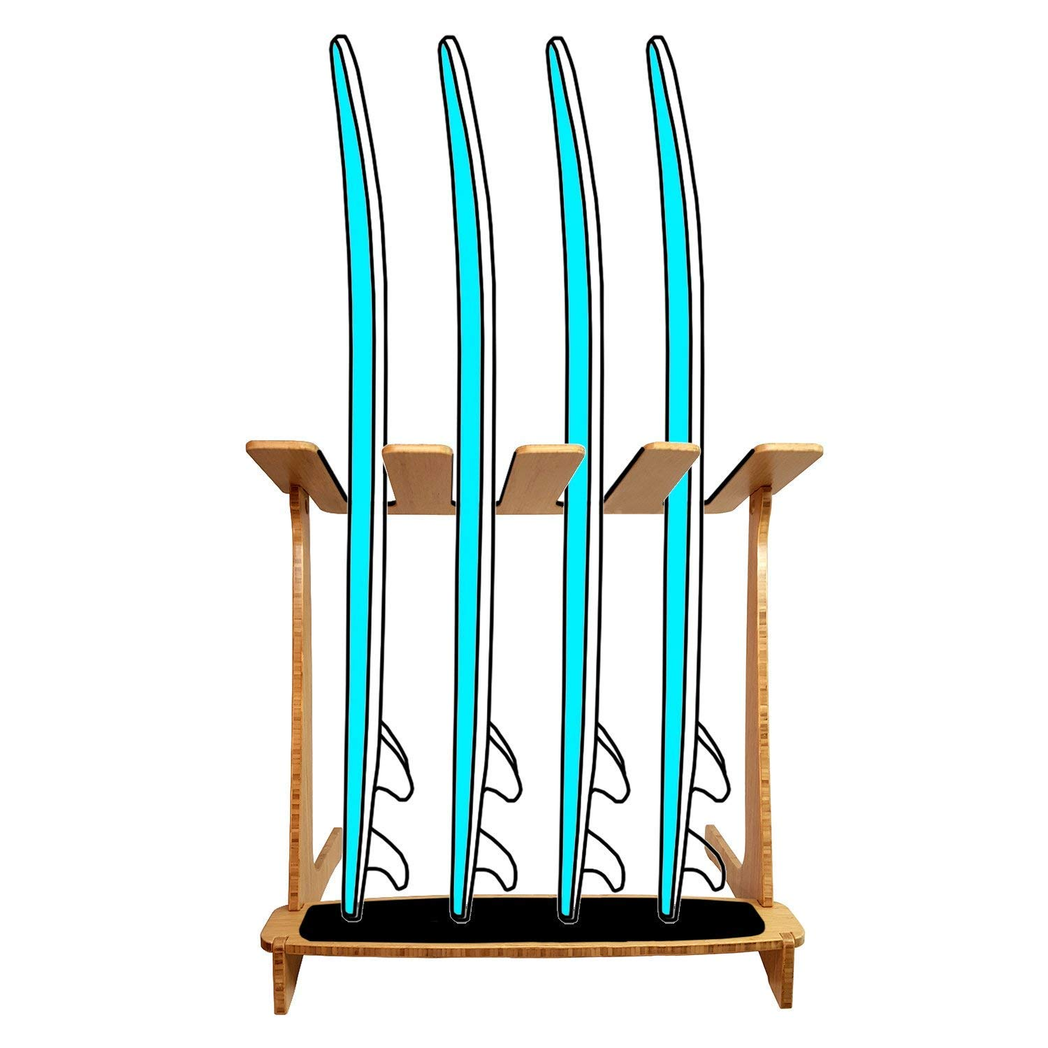 Grassracks Bamboo Freestanding Vertical Surf Rack for 4 Boards - Surfboards - Snowboards - Wakeboards by Grassracks