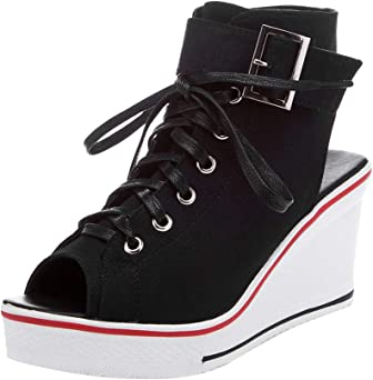 Mujer de lona de tacón alto plataforma cuña zapatillas de moda