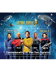 Star trek 50th Anniversary- Commemorating all captains, Collectible Postage Stamp souvenir sheet, Liberia