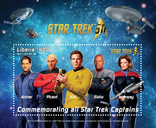 Star trek 50th Anniversary- Commemorating all captains, Collectible Postage Stamp souvenir sheet, Liberia ()