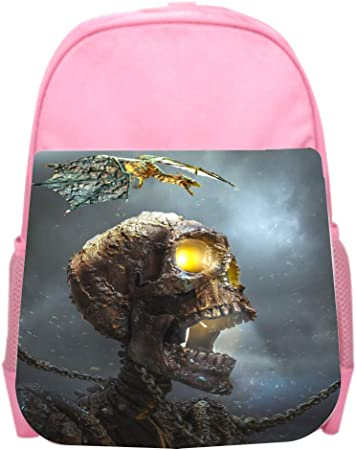 Black School Backpack /& Pencil Bag Skeleton Skull in Chains