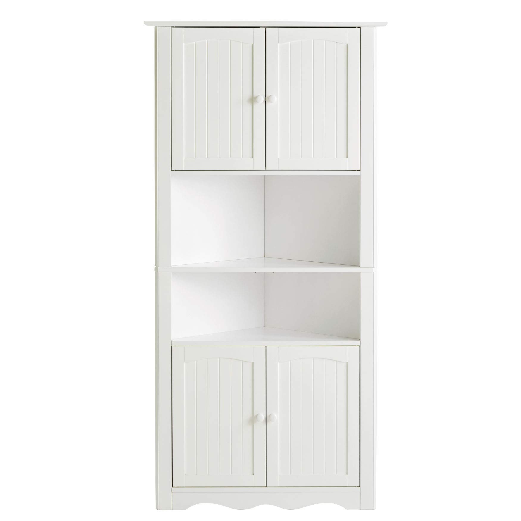 BrylaneHome Cottage Kitchen Corner Cabinet - White