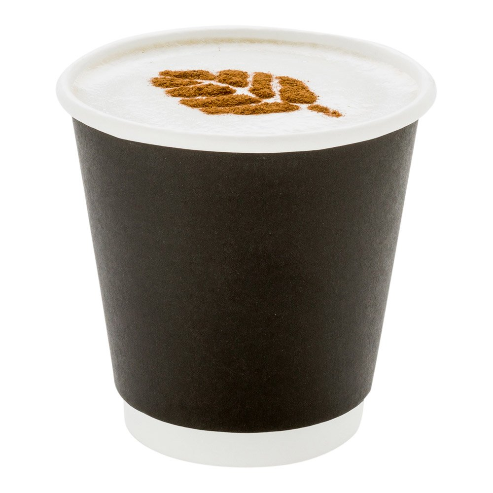 500-CT Disposable Black 8-oz Hot Beverage Cups with Double Wall Design: No Need for Sleeves - Perfect for Cafes - Eco Friendly Recyclable Paper - Insulated - Wholesale Takeout Coffee Cup