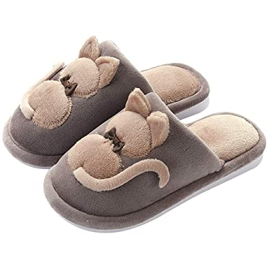 89c65ffc3856 Amazon.com  Boys Girls Cute Slippers Memory Foam Slide Kids Slip On Winter Warm  Indoor Fleece Shoes  Clothing