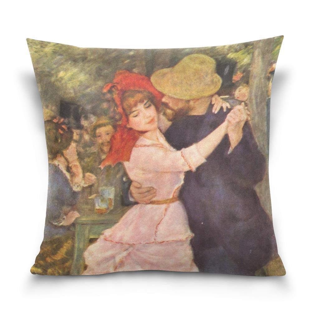 SUABO Dance at Bougival by Pierre-Auguste Renoir Cotton Velvet Decorative Throw Pillow Case Cushion Cover 20 X 20 inch