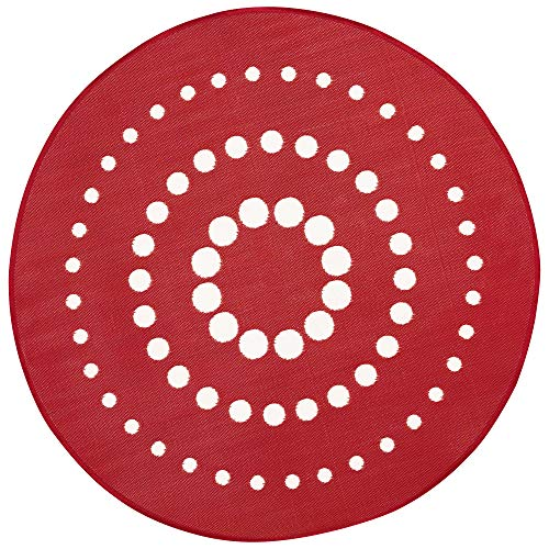 iCustomRug Inverso Outdoor Rug Collection, Reversible Plastic Area Rug 7' Round Anti Fade, Fade Resistant for Patio, Balcony or Beach in Red and -