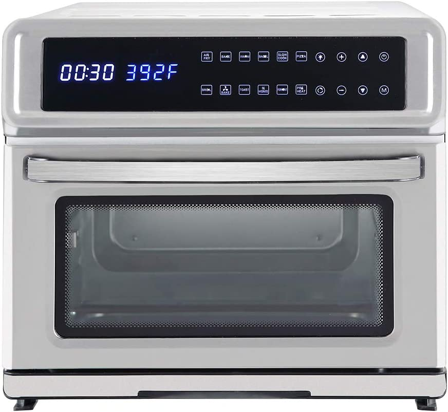 BALGELI Multifunctional Air Fryer Toaster Oven 120V 20 L with Skewer Combination and Extraction Bracket,1700W Silver